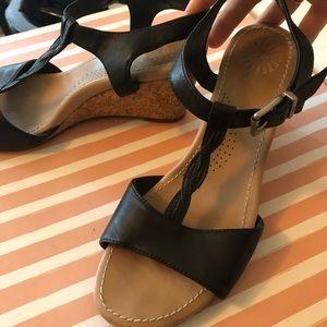 Black leather Ugg t strap cork wedge sandals